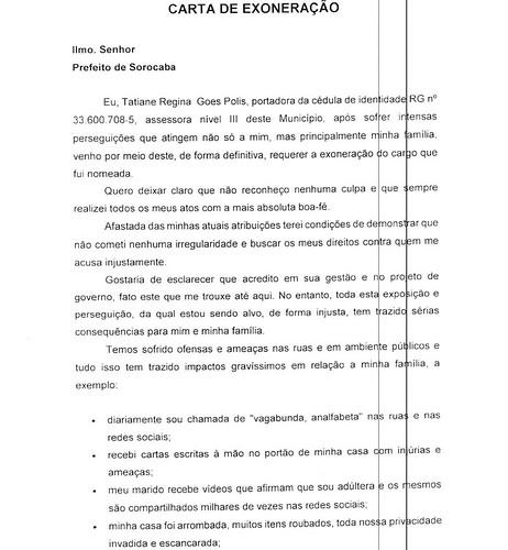 Carta de exoneração de Tatiane Polis