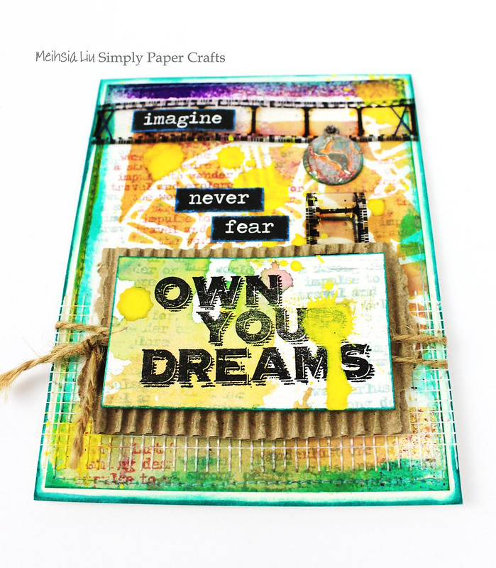Meihsia Liu Simply Paper Crafts Mixed Media Sewing Edges Dream Simon Says Stamp Monday Challenge Tim Holtz 2