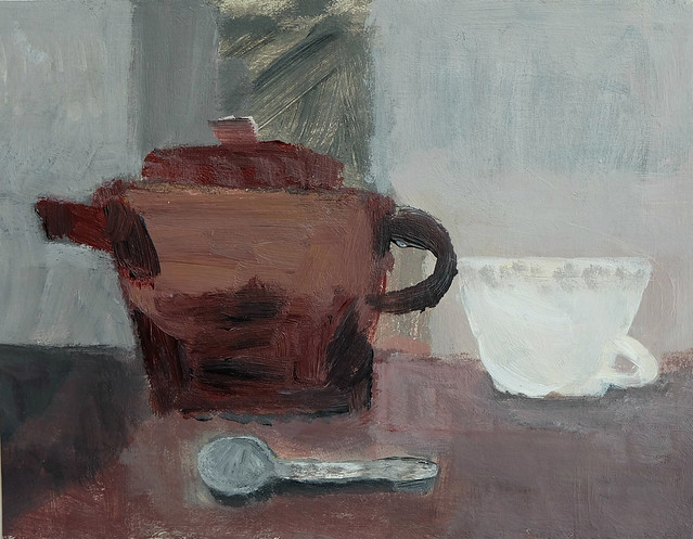still life with earth teapot