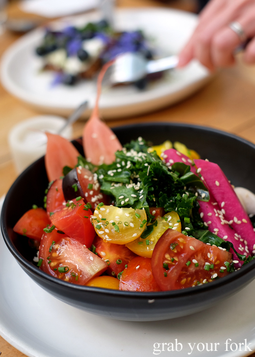 Brown rice bowl with organic tomatoes and pickles at Tricycle Cafe in Salamanca Place in Hobart