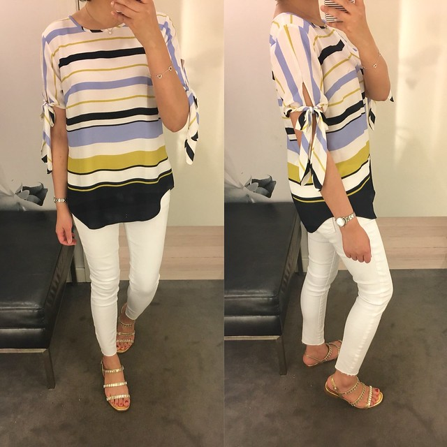 Ann Taylor Stripe Tie Sleeve Top, size XS regular