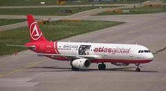 AtlasGlobal Airbus A321 TC-ETN Bank O Atlas Credit Card decals Zurich Airport webcam capture