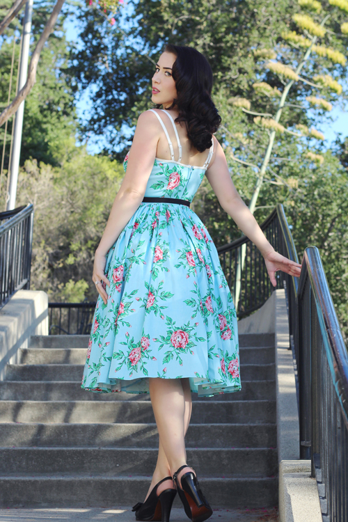 Micheline Pitt For Unique Vintage Light Blue Budding Beauties Alice Swing Dress Southern California Belle