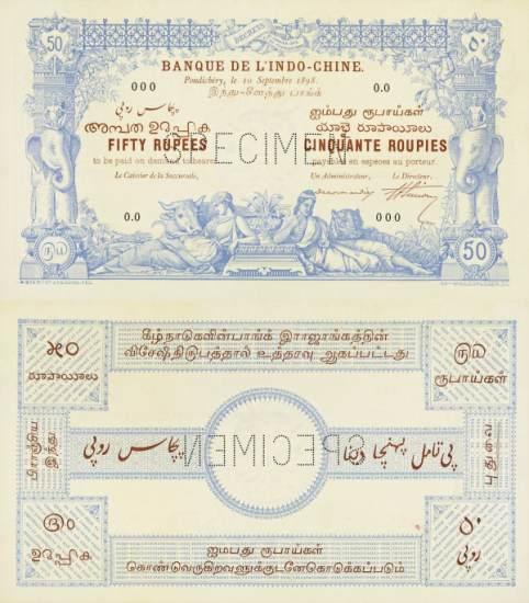 50 rupií Francúzska India 1898 SPECIMEN PA3, REPLIKA