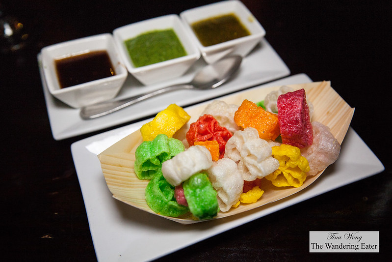 Puffed rice chips and trio of dips (tamarind, parsley-mint and ginger orange oil)