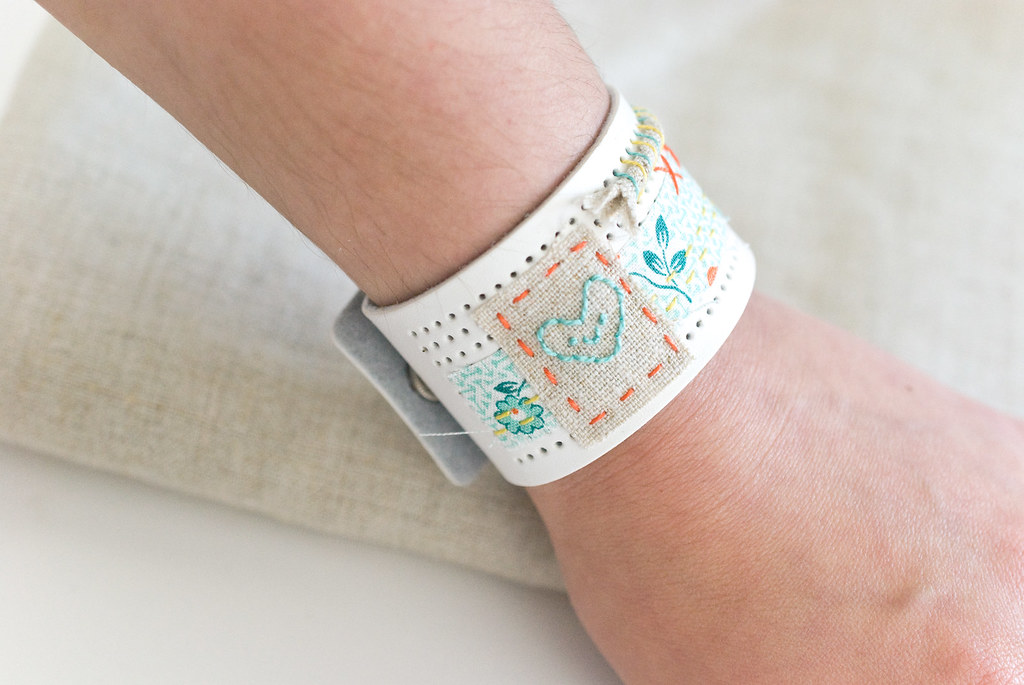 Mixed-Material DMC Stitchable Cuff Bracelet
