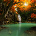 Beautiful autumn Erawan waterfall in deep forest, Kanchanaburi, Thailand.