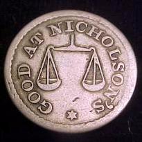 Half Dime token Nicholson reverse