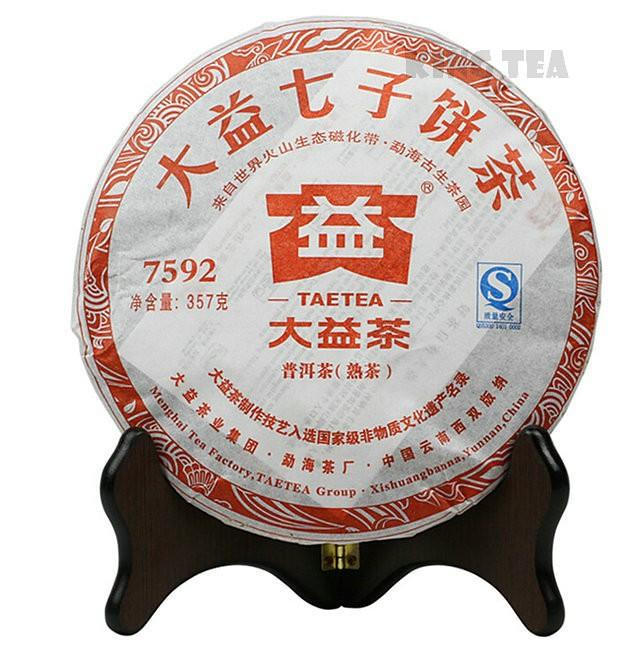 Free Shipping 2011 TAE TEA DaYi 7592 Beeng Cake 357g China YunNan MengHai Chinese Puer Puerh Ripe Tea Cooked Shou Cha Premium