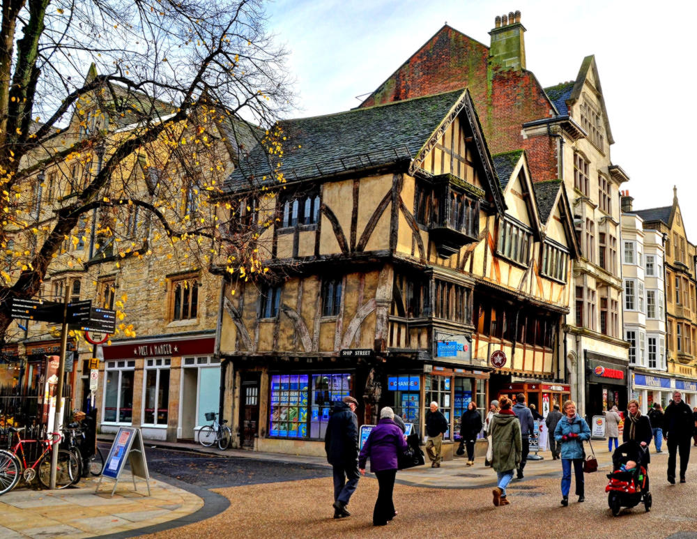 14th-century timber-framed building in Cornmarket Street, Oxford.