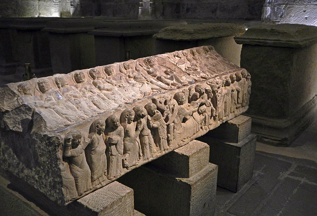 Stone tomb in Najera Monastery in La Rioja, Spain