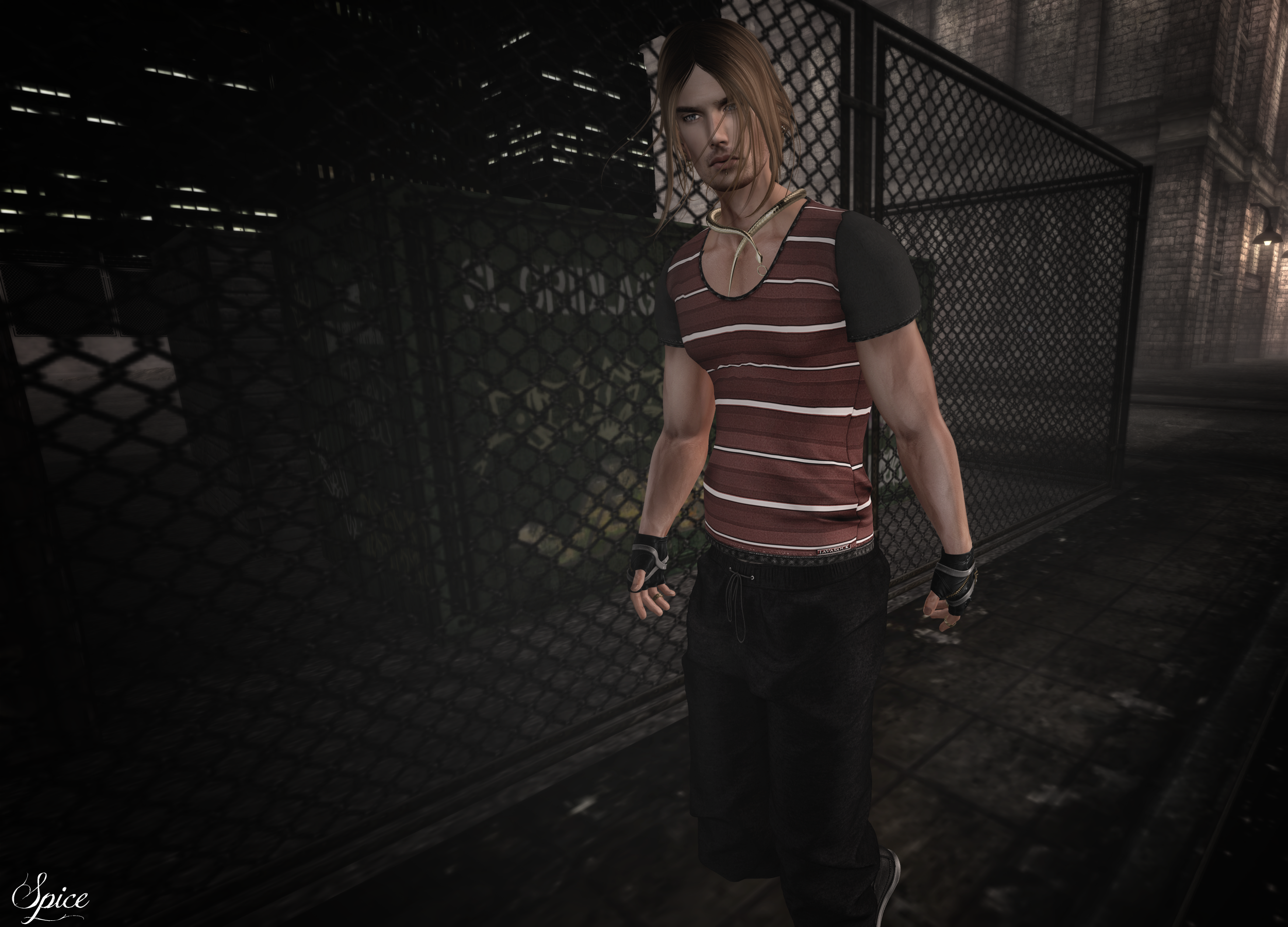 Spice wearing Egoisme EXMACHINA Male Sweatpants .:LAVAROCK CREATIONS:. David Male T-Shirt and -:zk:- Zara Kent - Snake Collar @ L'Elite Event