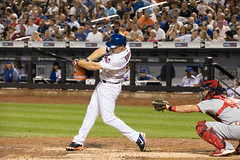 Mets outfielder Jay Bruce bats against the Cardinals.