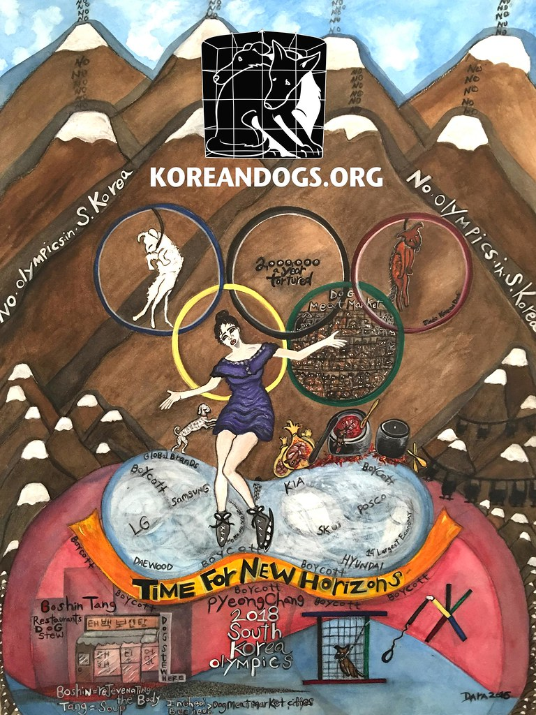 """Boycott PyeongChang 2018 Winter Olympic"" Poster by Dara Herman Zierlein."