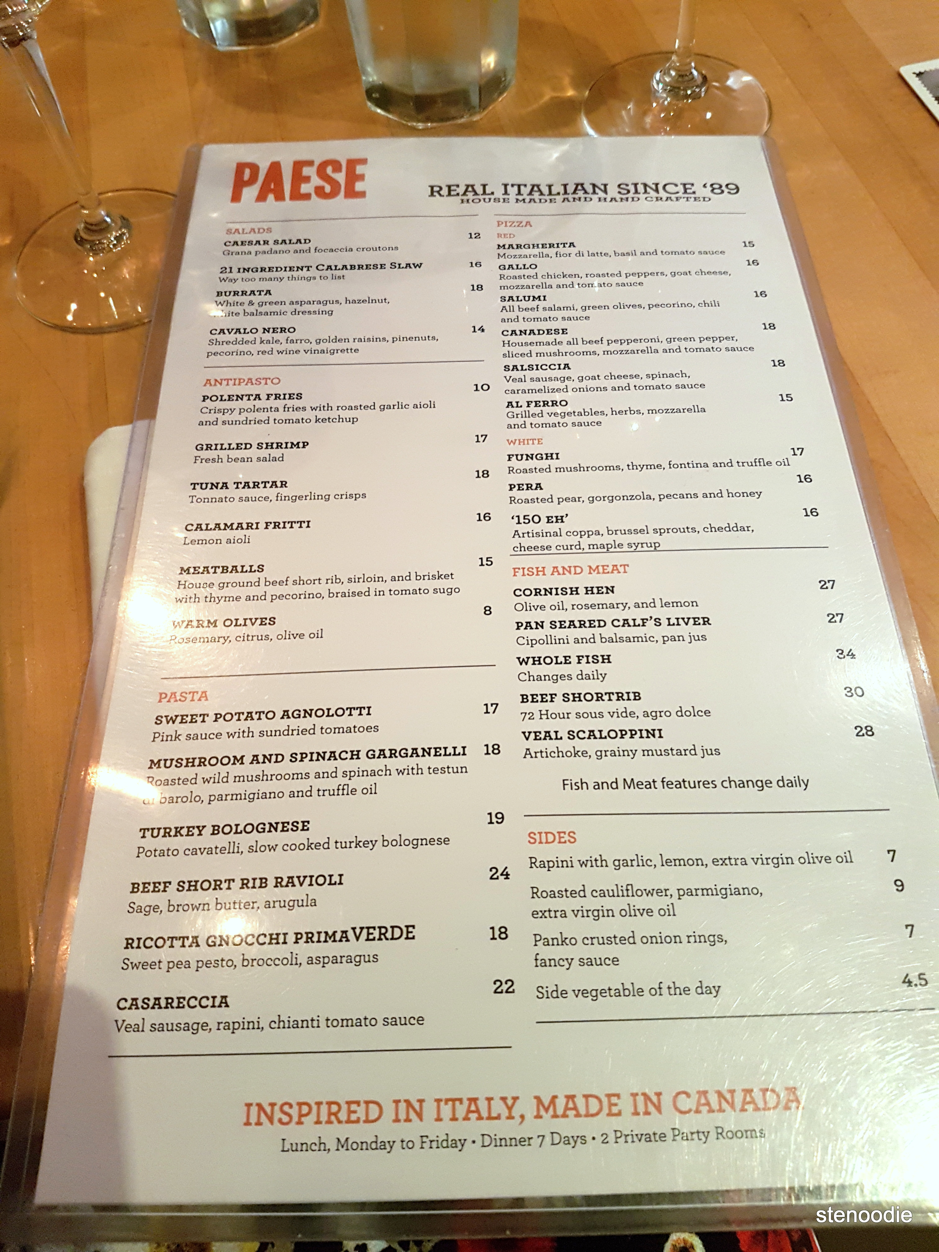 Paese Ristorante dinner menu and prices