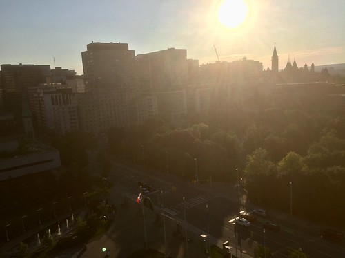 Sky Lounge view, golden hour in Ottawa