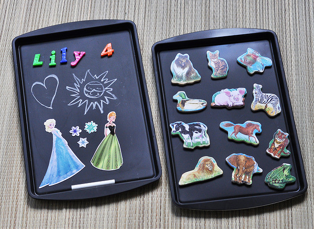 $2 DIY Chalkboard Cookie Sheet Travel Activity Trays