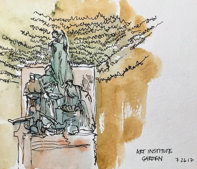 Statue in Art Institute garden