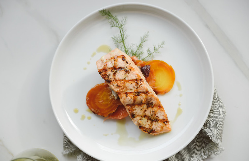 Grilled Salmon with Beets and Fennel