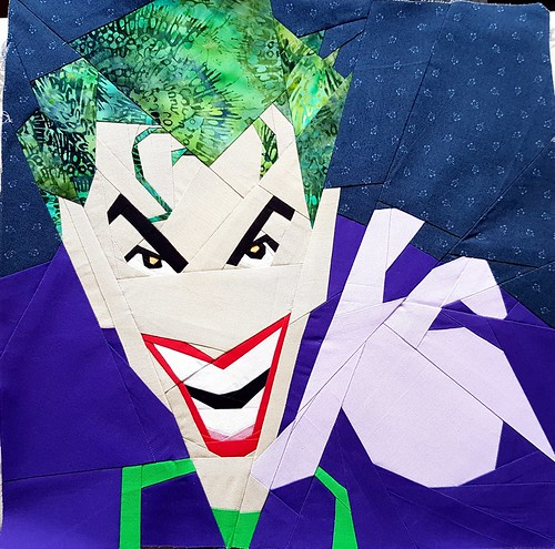 Paper pieced superhero THE JOKER. Pattern tested for Michelle Thompson of fandominstitches.com Pieced by Hannah Hughes