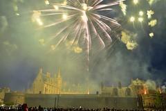 Puissants éclats des fusées éclairant toute la scène sur et autour du château, feu d'artifice du 14 juillet, Nantes :copyright: Bernard Grua
