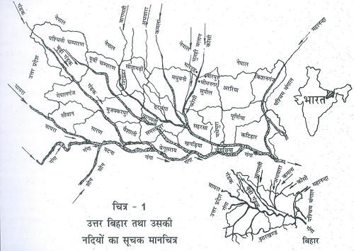 उत्तर बिहार तथा उसकी नदियों का सूचक मानचित्र