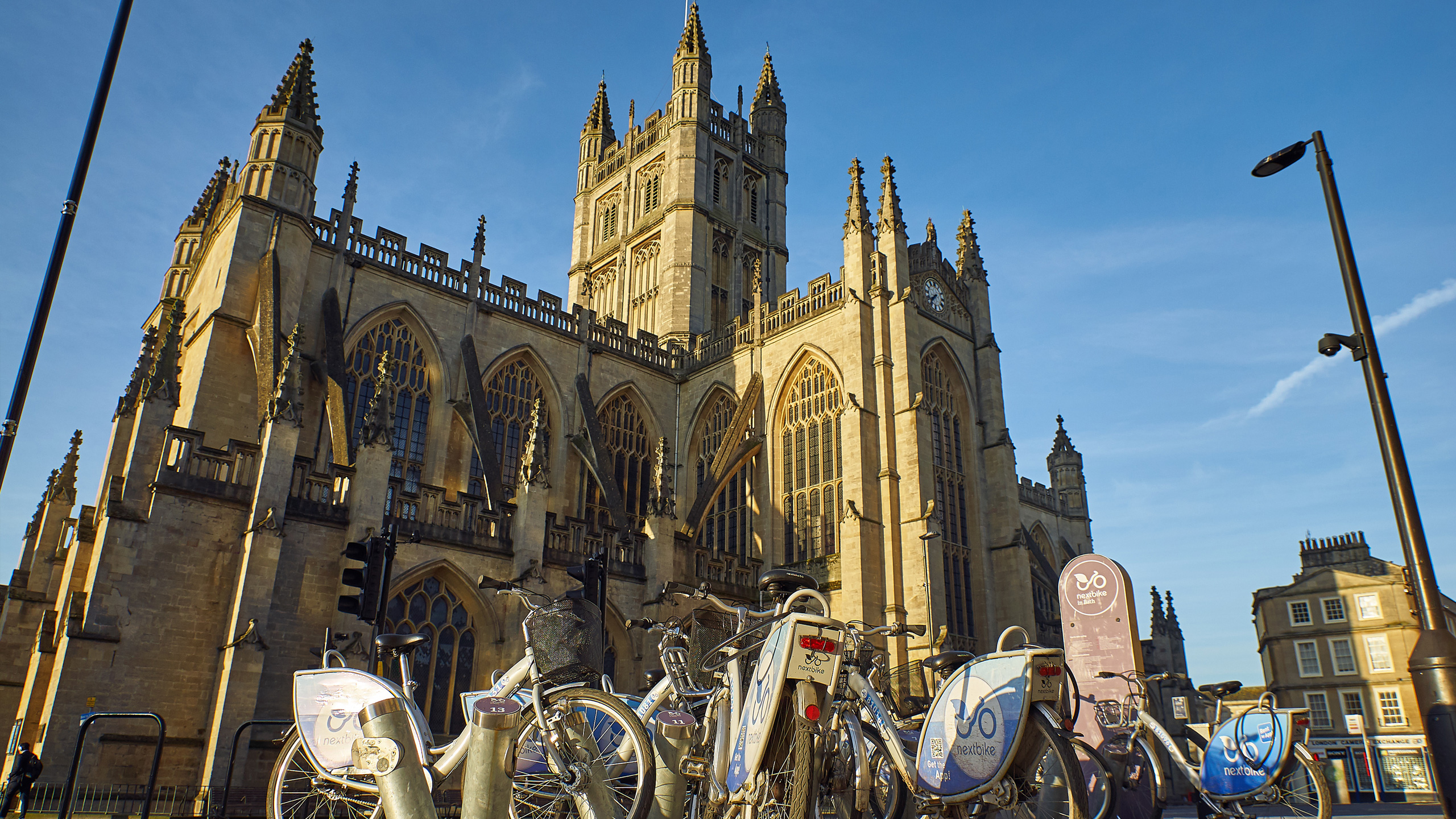 Bicycles in front of Bath Abbey