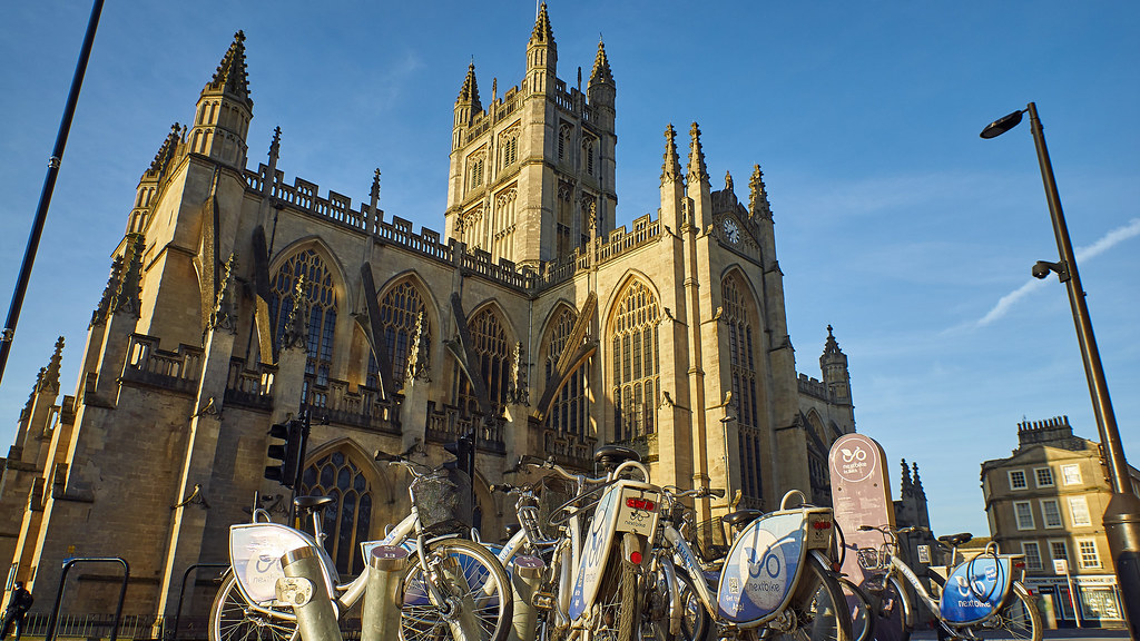 Bath Abbey and city bikes