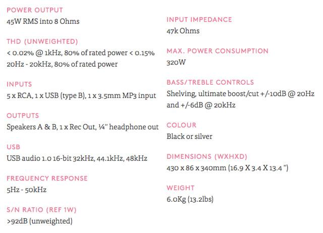 cambridge audio azur 351a tech specs