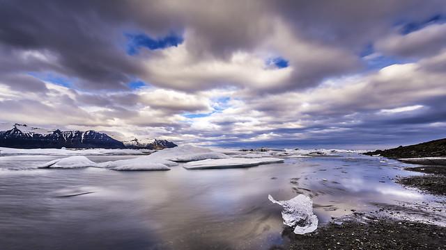 Icebergs At Moving Jökulsárlón