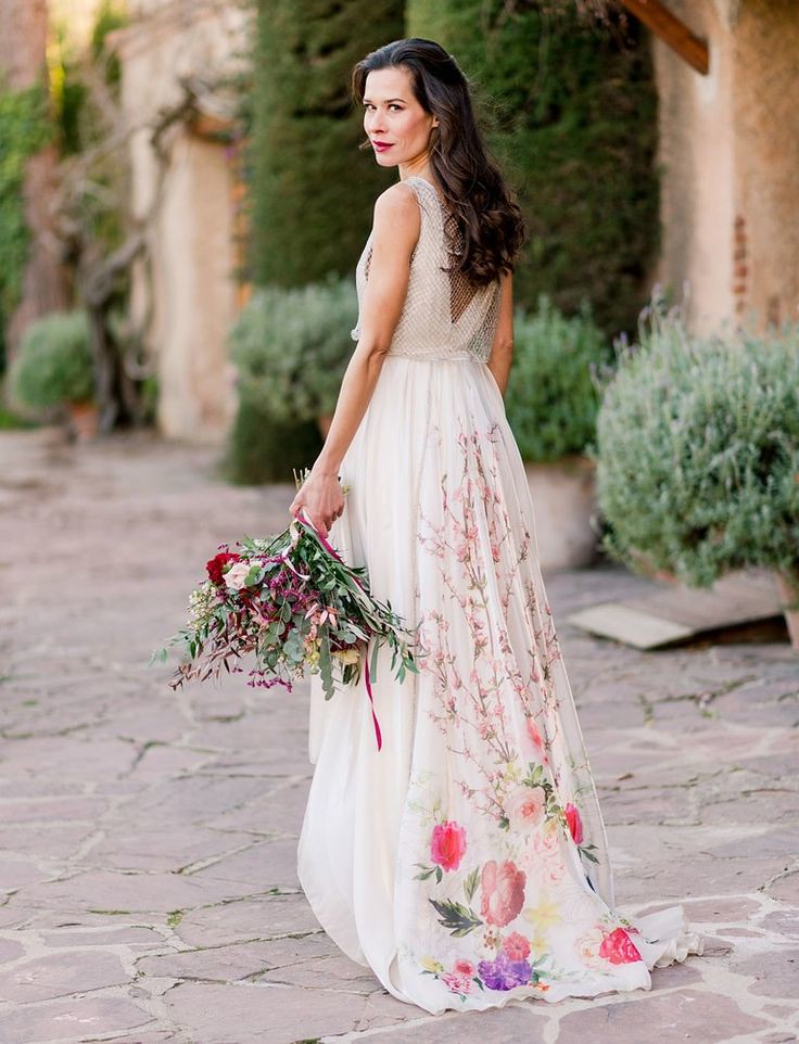 Beautiful Wedding Dresses Inspiration 2017/2018 : Bride in Pink Floral Wedding Dress...