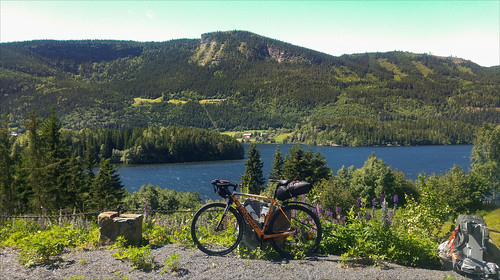 crescent norway trip zepto bicycle forrest mountain nature river vacation