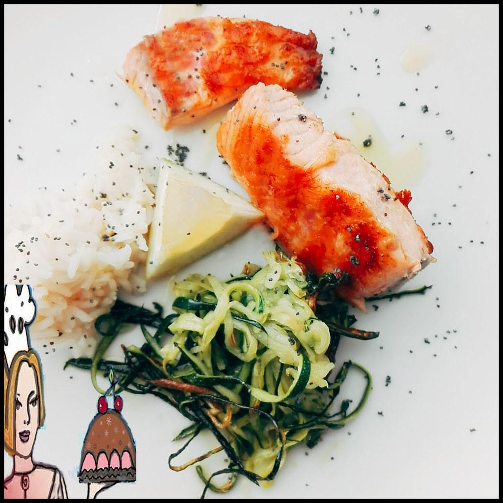 salmão com sementes de papoila