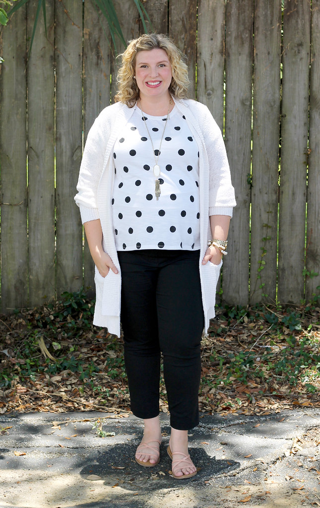 maternity black pants, white and black polka dot tee, long cream cardigan 5