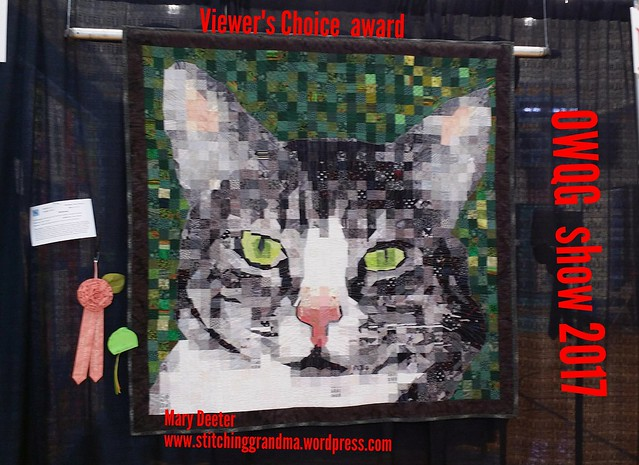 Mittens wins Viewer's Choice at Ocean Waves Quilt Guild Show