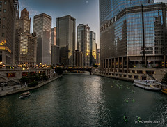 Sunset on the Chicago River