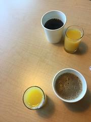 Hotel breakfast staples - orange juice and coffee - Fairfield Inn Marriott the dalles