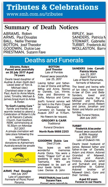 Sydney Morning Herald Death Notices