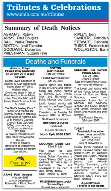 Sydney Morning Herald Obituary Notices Today