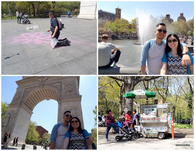 Tourist photos at Washington Square Park