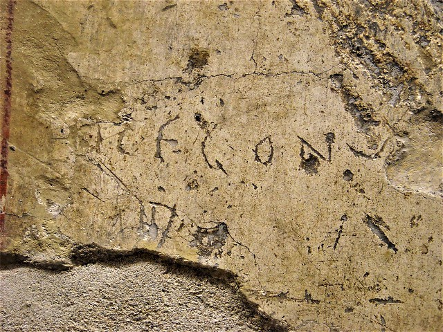 HIC EGO...(=I, here) - Detail of the plaster fragment with scrachted letters - from Pompeii - Inscription: