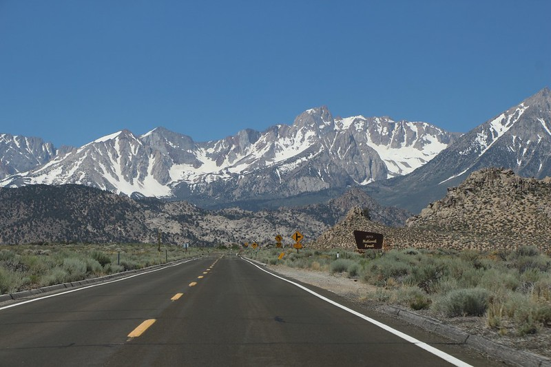 Mount Humphreys is in front of us as we head west on Highway 168 out of Bishop