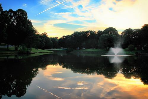 july summer sunset landscape color lake reflections haiku canon outdoor inmybackyard heatherlock gastonia northcarolina us