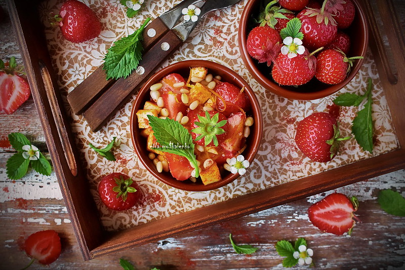 ...salad with strawberries and grilled cheese