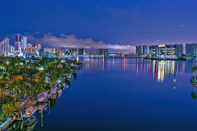 View of the skylines of Sunny Isles Beach and Aventura, Florida, USA