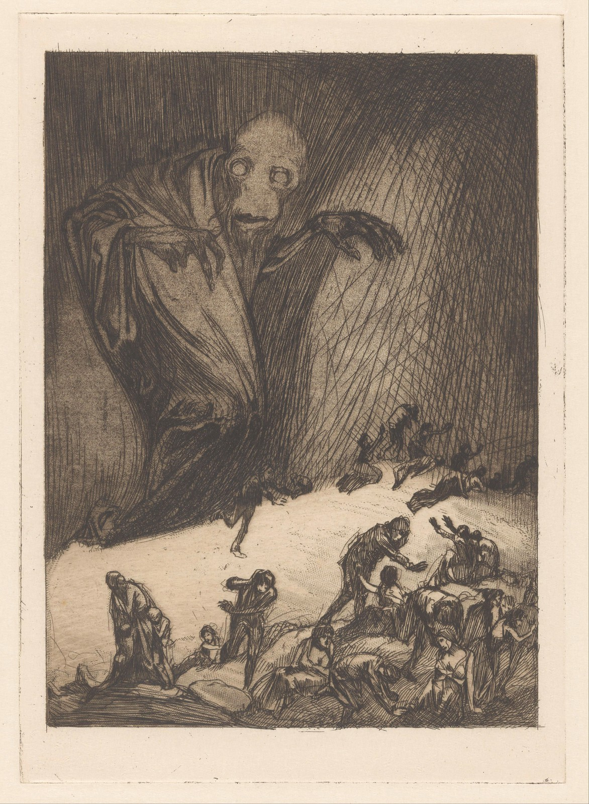 Johannes Josephus Aarts - Monster with  fleeing people