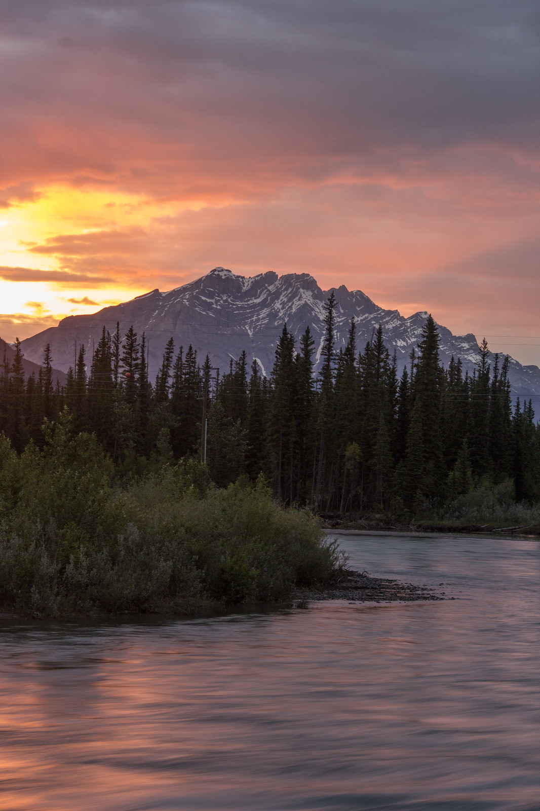 Sunset over Cascade Mountain from the Bow River Loop, Canmore
