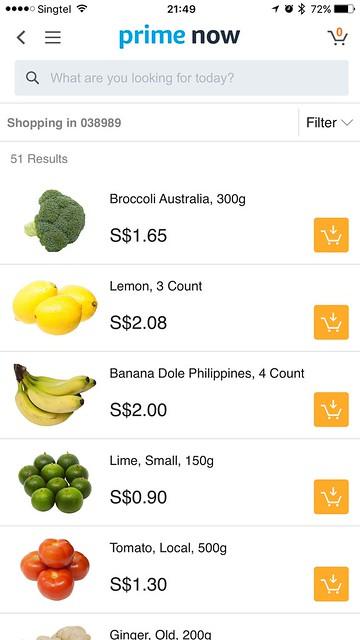 Amazon Prime Now iOS App - Vegetables & Fruits