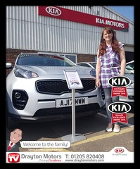 Miss Woodman picking up her Kia Sportage from Jack... Miss Woodman and her father both placed an order on the same day and now are both proud owners of beautiful Kia Sportages, welcome to the family!