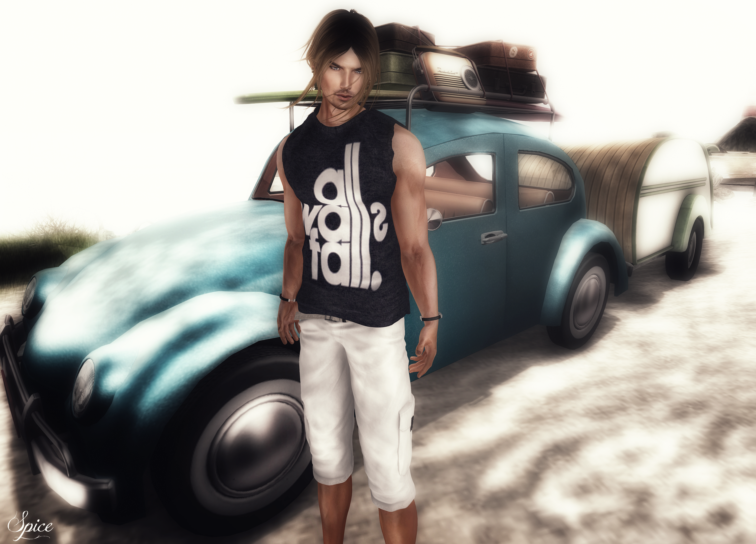 Spice wearing FashionNatic Duster Shorts Pants Egoisme EXMACHINA Sleeveless T-Shirt PetroFF Savage Bracelet and Grafica Poses Pendroni Dau pose @ MOM